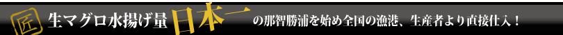 生マグロ水揚げ量の那智勝浦を初め全国の漁港、生産者より直接仕入れ!